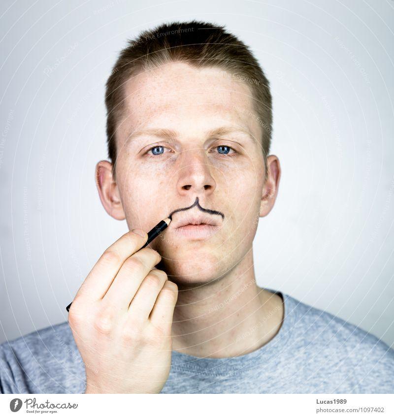 Bartwuchs Mensch Jugendliche Mann Junger Mann 18-30 Jahre schwarz Erwachsene grau Haare & Frisuren Linie maskulin blond verrückt Coolness malen T-Shirt