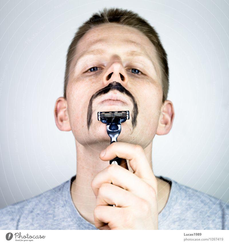 Rasur 2.0 Mensch maskulin Junger Mann Jugendliche Erwachsene 1 18-30 Jahre Bart Oberlippenbart Rasierer Nassrasierer Nassrasur bemalt angemalt außergewöhnlich