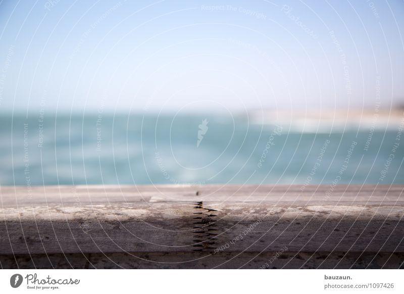 nahtstelle. Himmel Natur Ferien & Urlaub & Reisen Stadt Wasser Sommer Sonne Meer Strand Ferne Küste Holz Freiheit Linie Wellen Tourismus