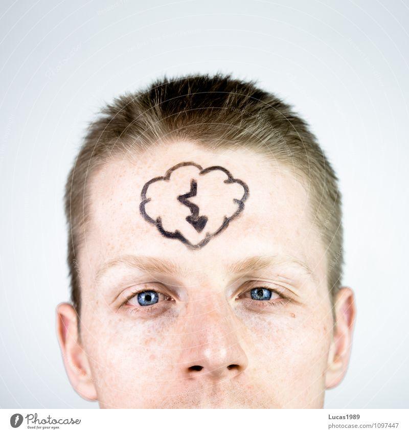 Gedankenblitz Mensch Junger Mann Jugendliche Erwachsene 1 18-30 Jahre Blitze Wolken beobachten Denken blond Coolness Willensstärke Bildung Idee Entscheidung