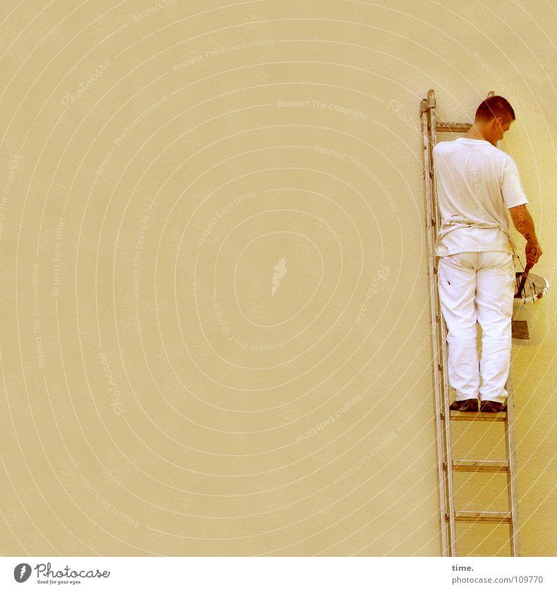 Die Mauer BLEIBT! Farbfoto Außenaufnahme Tag Sonnenbad Arbeit & Erwerbstätigkeit Anstreicher Dienstleistungsgewerbe Handwerk Leiter maskulin Mann Erwachsene
