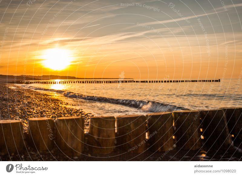 Goldener Sonnenuntergang Landschaft Wasser Himmel Sonnenaufgang Schönes Wetter Ostsee Glück Lebensfreude Romantik achtsam Gelassenheit ruhig Farbfoto