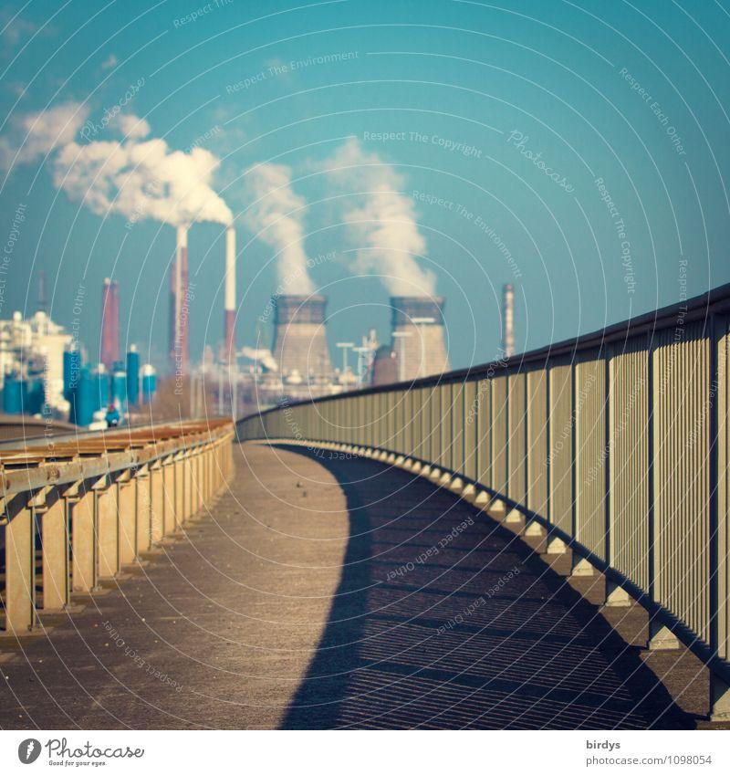 Kraftwerk Köln-Godorf Stadt Wege & Pfade Deutschland Energiewirtschaft Perspektive Schönes Wetter Brücke Industrie Fußweg Rauchen Wolkenloser Himmel Wirtschaft