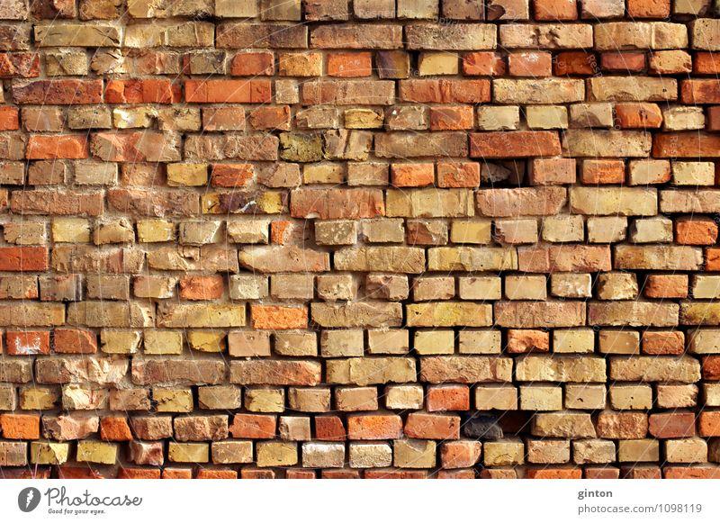 Markante Ziegelsteinmauer alt Wand Architektur Gebäude Mauer Stein retro Bauwerk fest eckig