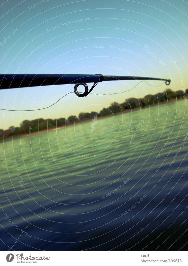 angeln pt.1 Angelrute Angeln Schnur Angler Kreis rund See Gewässer Horizont Baum Stimmung ruhig Ferne Osten Nachmittag Freizeit & Hobby Fluss Bach Fisch Sehne