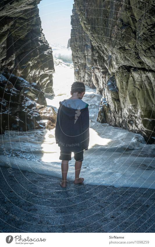 361 Kind Natur Ferien & Urlaub & Reisen Wasser Sonne Meer Strand Ferne Leben Küste Junge Freiheit gehen Felsen glänzend Kindheit