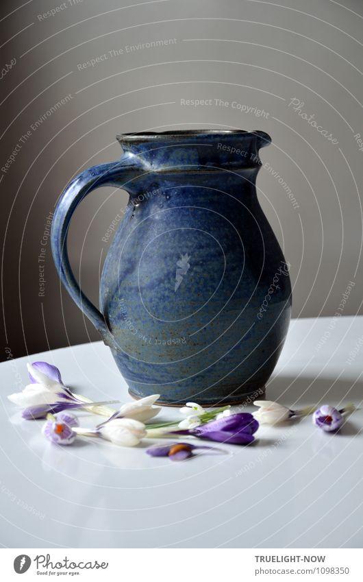 Der Krug. blau weiß Blume Blüte Stil Lifestyle grau Stein Wohnung Häusliches Leben frisch Dekoration & Verzierung Ernährung ästhetisch Tisch Trinkwasser