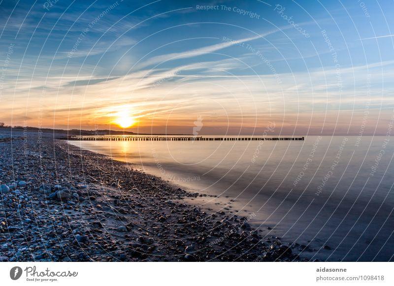 sunset baltic beach Landschaft Wasser Schönes Wetter Ostsee Gefühle Zufriedenheit Lebensfreude Begeisterung Warmherzigkeit Romantik schön achtsam Vorsicht ruhig