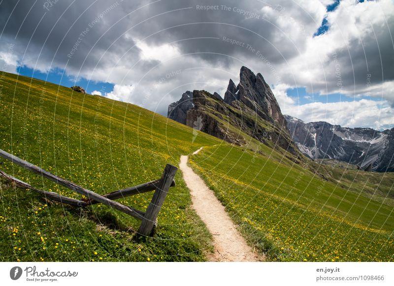gewaltig Natur Ferien & Urlaub & Reisen Pflanze grün Sommer Landschaft Berge u. Gebirge Wiese Gras Frühling Wege & Pfade Felsen Tourismus Ausflug Lebensfreude Abenteuer