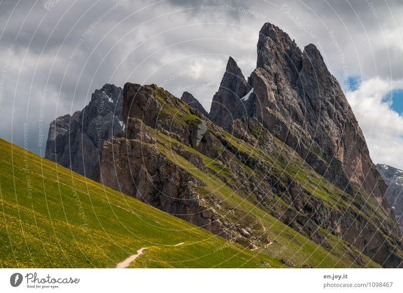 am Rande Natur Ferien & Urlaub & Reisen Pflanze grün Sommer Landschaft Wolken Berge u. Gebirge Gras Frühling Wege & Pfade Felsen Tourismus wandern Ausflug Spitze