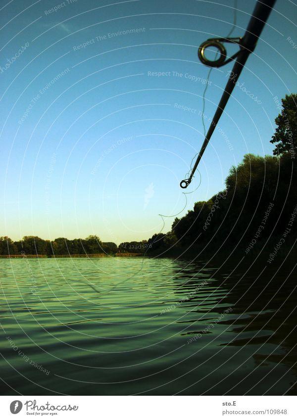 angeln pt.2 Angelrute Angeln Schnur Angler Kreis rund See Gewässer Horizont Baum Stimmung ruhig Ferne Osten Nachmittag Freizeit & Hobby Fluss Bach Fisch Sehne