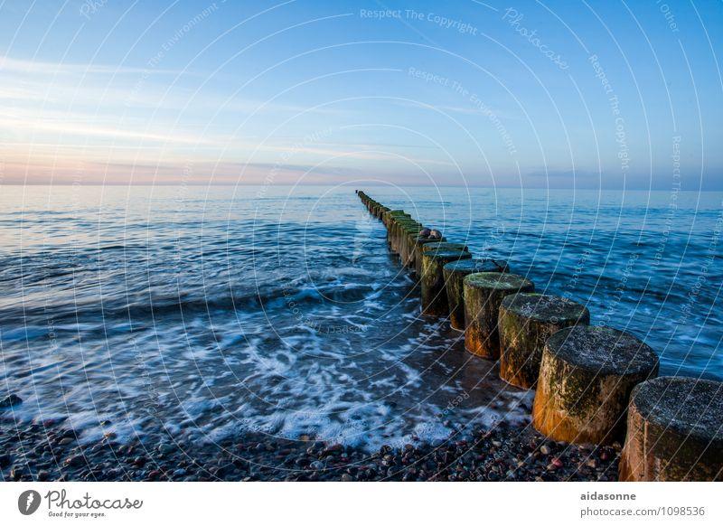 Buhnen Natur Wasser Landschaft ruhig Strand Horizont Zufriedenheit Wellen Lebensfreude Schönes Wetter Romantik Ostsee Wolkenloser Himmel Mecklenburg-Vorpommern