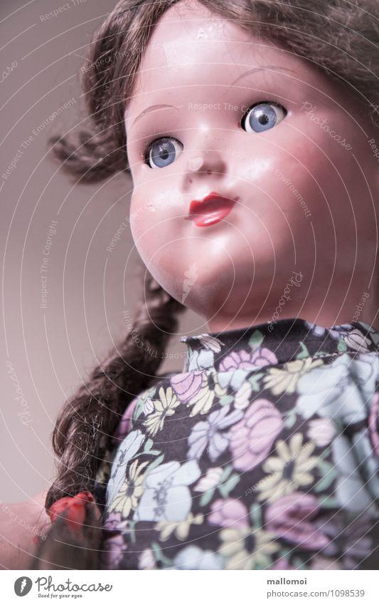 alte Puppe mit Zöpfen Mädchen Kindheit Gesicht Spielzeug Treue Erinnerung Spielen Freundschaft Zopf Vergangenheit bewegungslos Starrer Blick Farbfoto