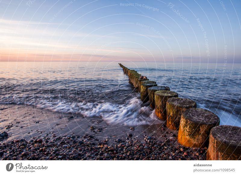 Ostsee Wasser Landschaft ruhig Strand Ferne Leben Horizont Zufriedenheit Wellen Schönes Wetter Gelassenheit Wolkenloser Himmel Vorsicht Mecklenburg-Vorpommern achtsam Holzpfahl