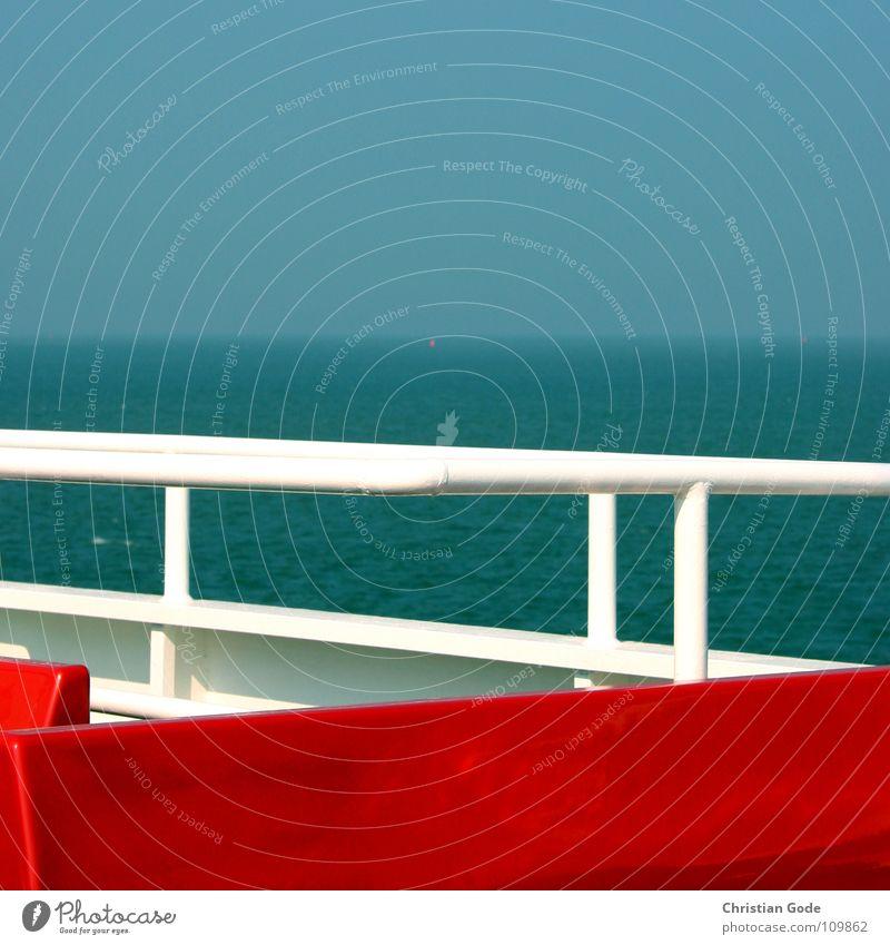 FRISIA Wasser Himmel weiß Meer blau rot Ferien & Urlaub & Reisen See Wasserfahrzeug Wind Horizont Insel Schifffahrt Nordsee Schaukel Sitzgelegenheit
