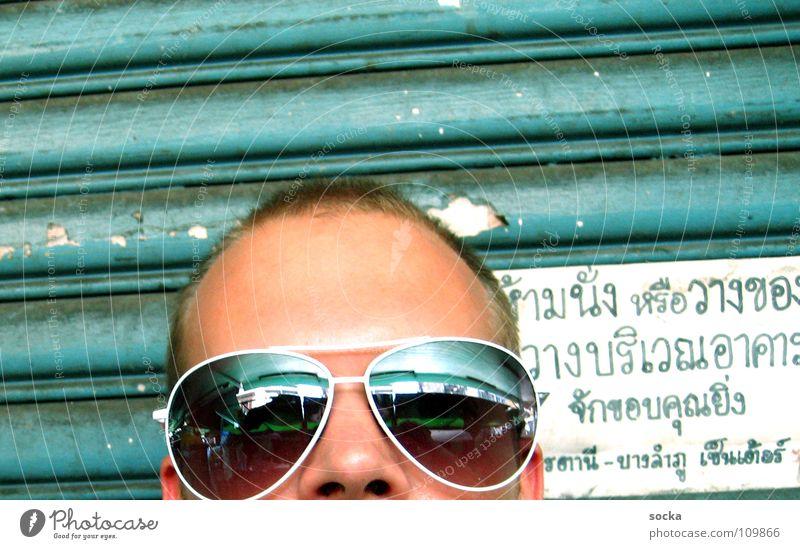 Sunglasses @ thailand Mann Sonne grün Gesicht Ferien & Urlaub & Reisen Kopf Schilder & Markierungen Schriftzeichen Buchstaben Spiegel türkis Sonnenbrille Garage Thailand Asien Brille