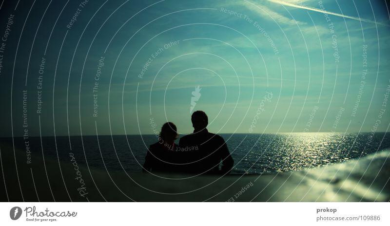 Liebe und andere Kleinigkeiten Freundschaft Meer Wolken Wellen glänzend Silhouette Romantik Unendlichkeit Zuneigung Zufriedenheit Vertrauen