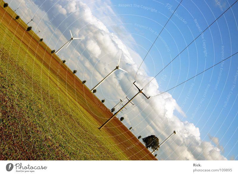 .Clean Power grün Kraft Windkraftanlage weiß braun Propeller Baum Sträucher Technik & Technologie Natur Wolken Himmel Sturm Naturgewalt krumm Elektrizität
