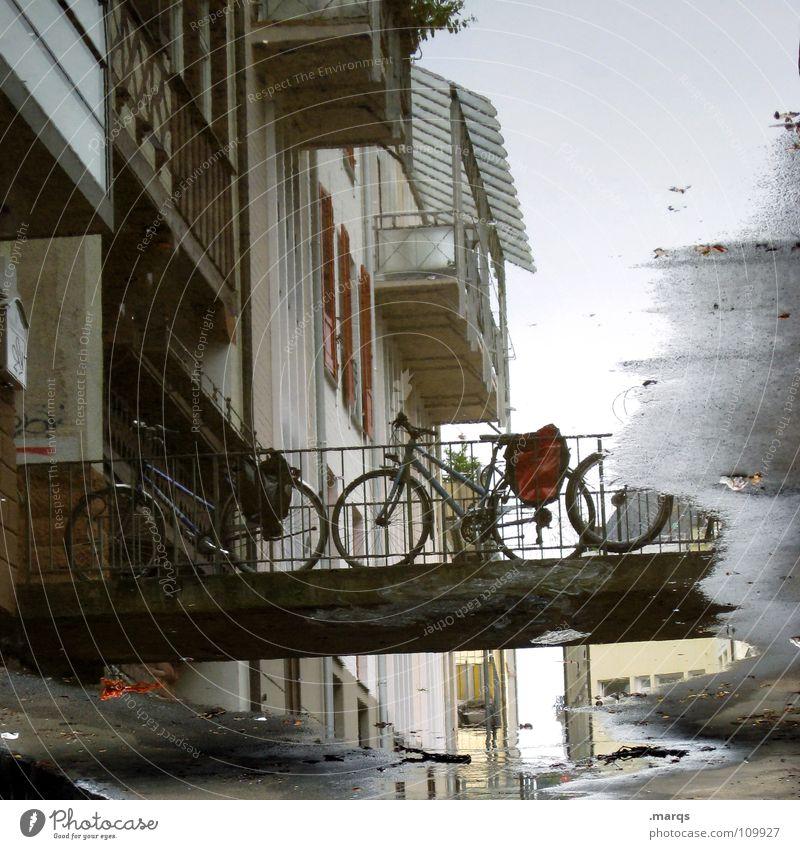 Fischerau Wasser Haus Fenster Wege & Pfade Fahrrad Wohnung nass Beton geschlossen Brücke Häusliches Leben Balkon Steg Verkehrswege feucht Geländer