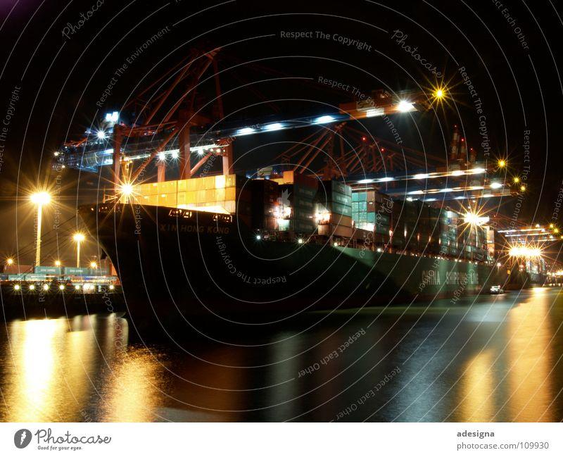 Hafen bei Nacht Wasser Wasserfahrzeug Hamburg Güterverkehr & Logistik Schifffahrt Container