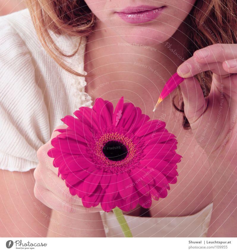 nor awake my love Flirten Blume träumen Hoffnung lieblich Verliebtheit zupfen Wunsch zählen Jugendliche rosa Finger Haut Haare & Frisuren Mund Lippen Licht