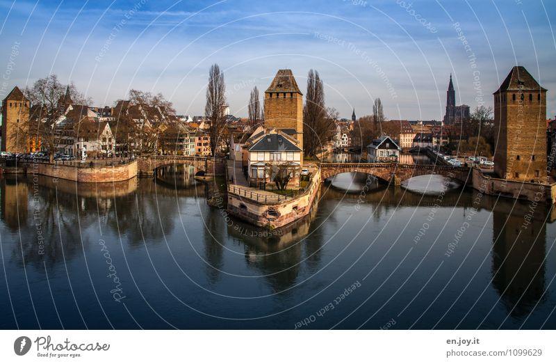 Hauptstadt Europas Ferien & Urlaub & Reisen Tourismus Ausflug Sightseeing Städtereise Landschaft Wasser Himmel Schönes Wetter Fluss Ill Kanal Straßburg Elsass