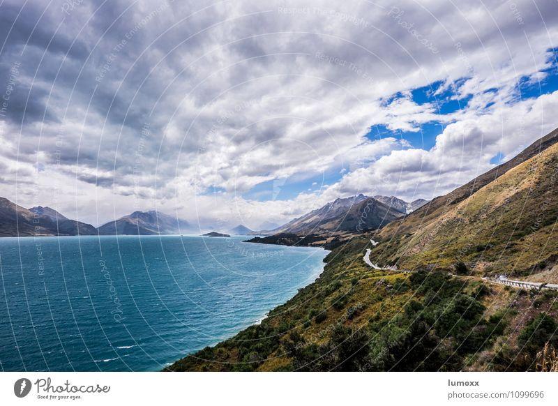 paradise, nz Umwelt Natur Landschaft Wasser Wolken Sommer schlechtes Wetter Unwetter Sturm Hügel See Lake Wakatipu entdecken blau türkis weiß