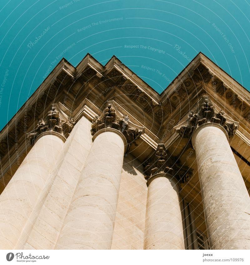 Unterstützung Himmel Gebäude Architektur Kraft Fassade Macht Dach historisch aufwärts Säule antik Ornament Strebe Barock klassisch
