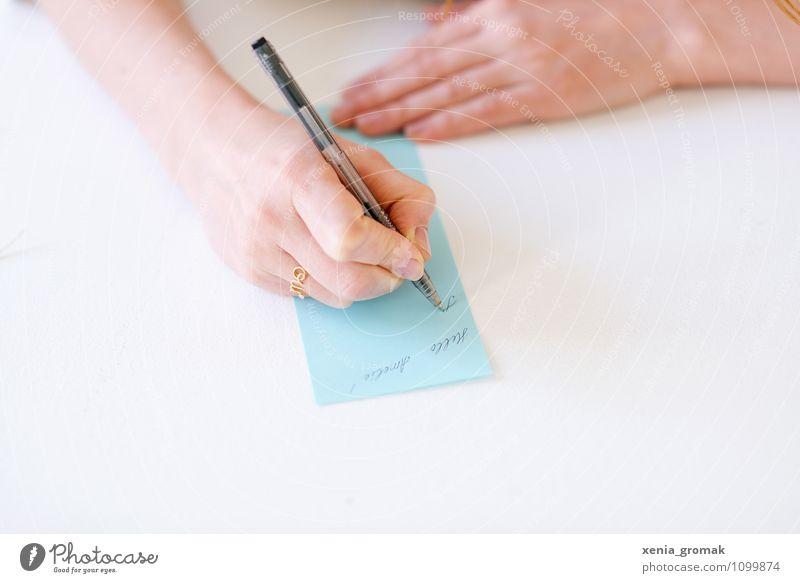 schreiben blau schön weiß Hand Leben Gefühle Stil Lifestyle Freizeit & Hobby Design elegant Tourismus ästhetisch Geschenk Papier geheimnisvoll