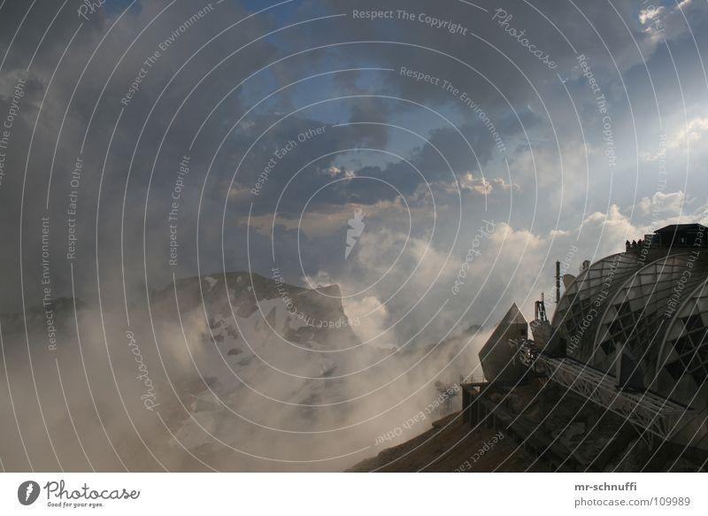 Höchste Wolken Sonne Schnee Berge u. Gebirge Gebäude Stimmung Wetter Felsen