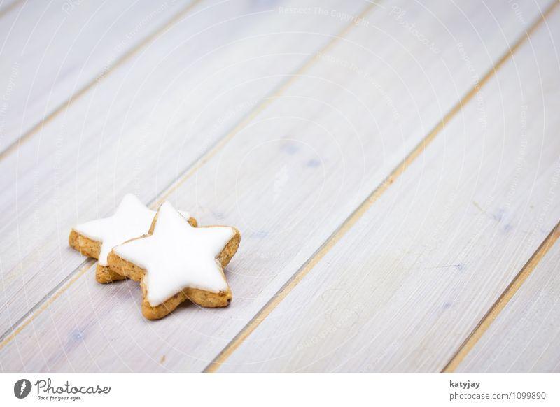 Zimtsterne Weihnachten & Advent Winter Textfreiraum paarweise Tisch Kochen & Garen & Backen Jahreszeiten Postkarte nah Kuchen Backwaren Geschmackssinn Holztisch