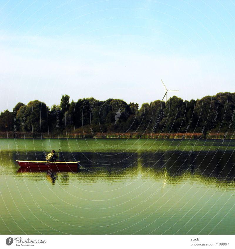 angeln pt.3 Angelrute Angeln Schnur Angler Kreis rund See Gewässer Horizont Baum Stimmung ruhig Ferne Osten Nachmittag Wasserfahrzeug Ruderboot Rudern