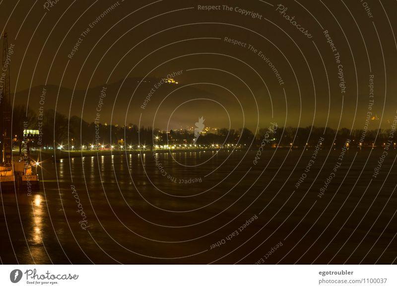 Nebelhafte Nacht Landschaft Wasser Nachthimmel Berge u. Gebirge Siebengebirge Flussufer Rhein Bonn Menschenleer ästhetisch Freizeit & Hobby Stimmung Umwelt
