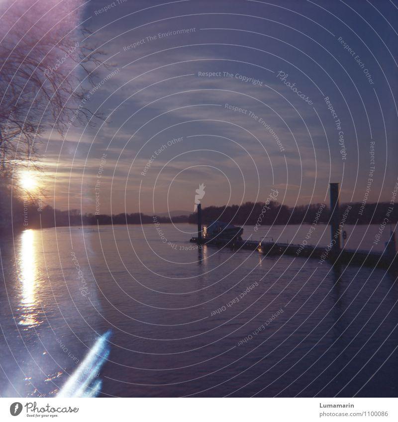Anleger Freizeit & Hobby Yachting Ausflug Freiheit Bootsfahrt Landschaft Horizont Sonnenaufgang Sonnenuntergang Schönes Wetter Flussufer Rhein Schifffahrt
