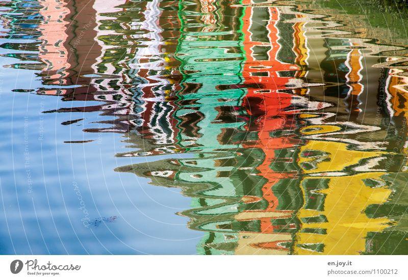 Waterworld Ferien & Urlaub & Reisen Städtereise Sommer Sommerurlaub Wellen Wasser Himmel Insel Burano Fluss Kanal Venedig Dorf Fischerdorf Haus Flüssigkeit
