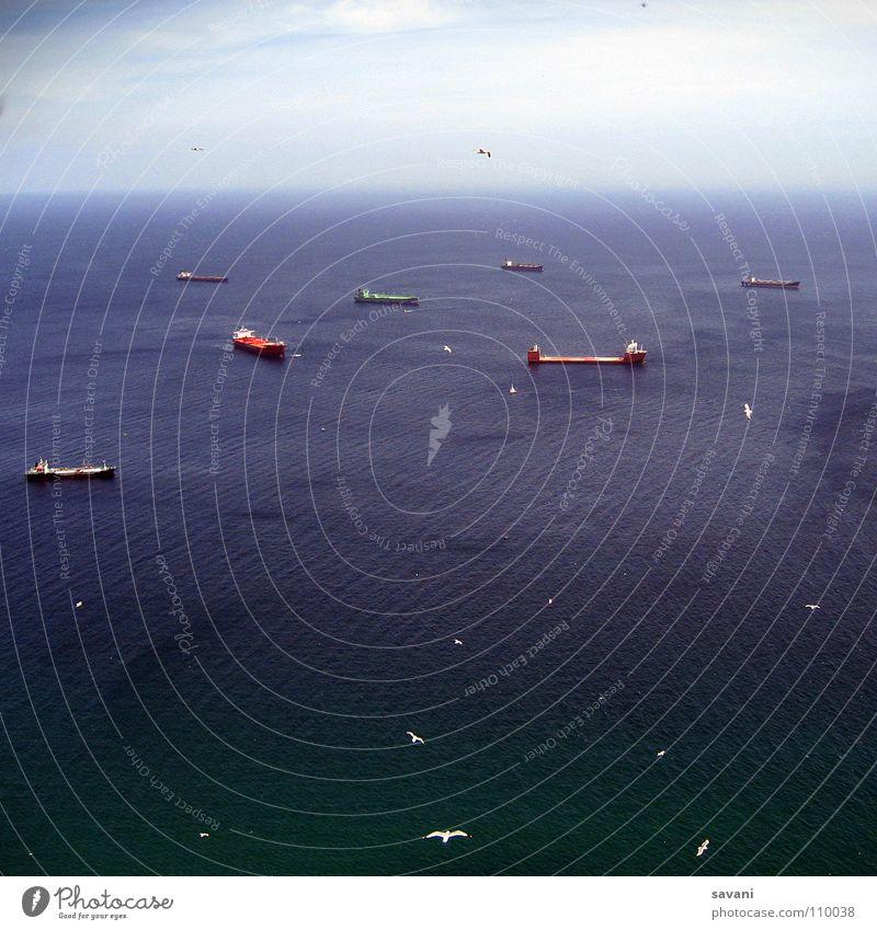 Schiffe Wasser Himmel Meer blau Sommer Ferien & Urlaub & Reisen Wolken Ferne Freiheit Wasserfahrzeug Vogel Wellen Wind fliegen nass frei
