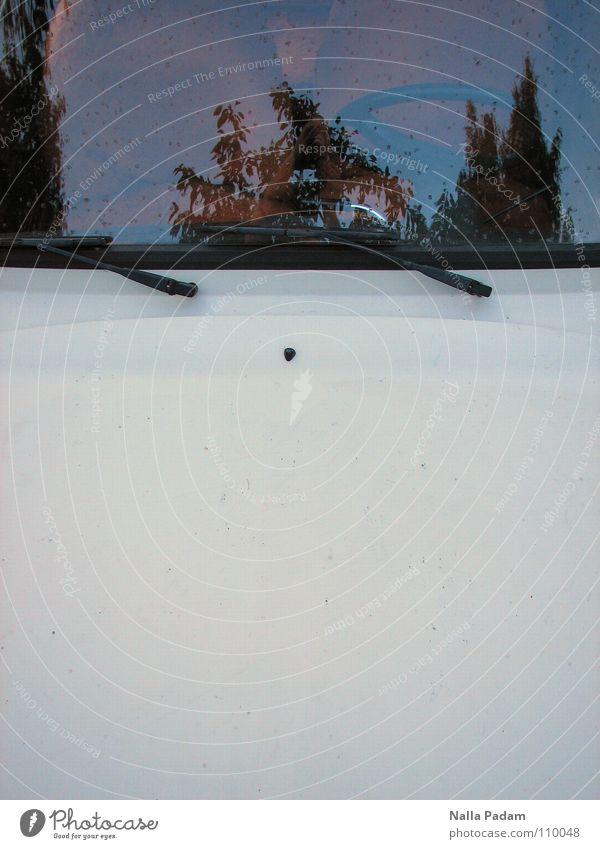 Rolle seitwärts weiß PKW Autofenster DDR Fahrzeug parken Spiegelbild Anschnitt Bildausschnitt bescheiden Trabbi Windschutzscheibe Motorhaube Scheibenwischer