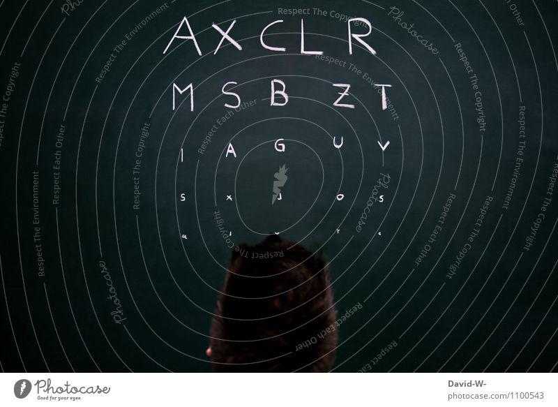 Sehstärke Mensch Jugendliche Erholung Junger Mann Erwachsene Auge Leben Gesundheit Gesundheitswesen Kopf maskulin beobachten Brille lesen Buchstaben