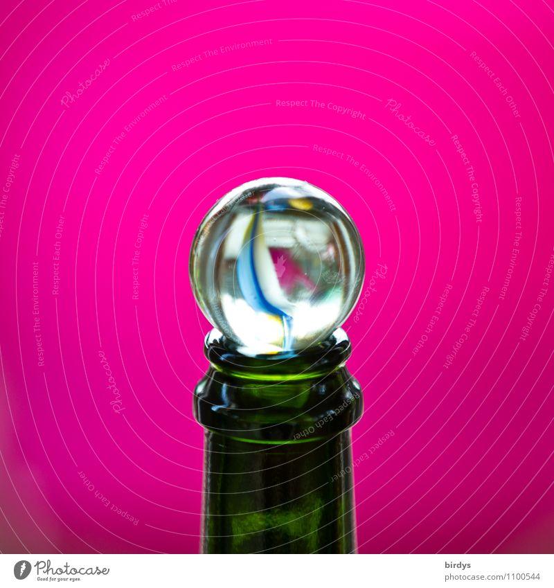 Thronkorken schön Farbe rosa Design Glas Kindheit ästhetisch rund Freundlichkeit durchsichtig positiv Verschlussdeckel Flaschenhals Murmel Glaskugel Sektflasche