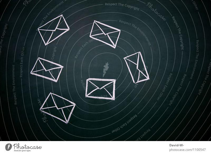 Briefwahl Mensch Dienstleistungsgewerbe Briefkasten Briefumschlag fliegend Empfangen Versand senden Post erwarten Pünktlichkeit Tafel Kreide Kreativität