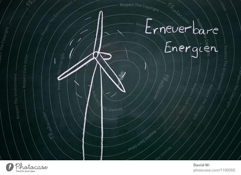 Erneuerbare Energien sparen Wissenschaften Tafel Wirtschaft Industrie Energiewirtschaft Erfolg Technik & Technologie Fortschritt Zukunft Windkraftanlage