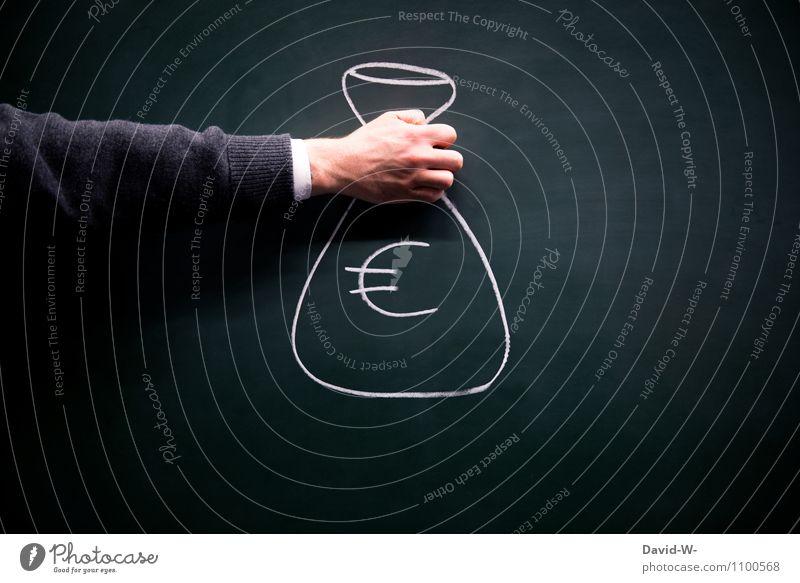Euro kaufen Reichtum Geld sparen Wirtschaft Kapitalwirtschaft Börse Geldinstitut Business Karriere Erfolg Leben Arme Sack Eurozeichen bezahlen € teuer
