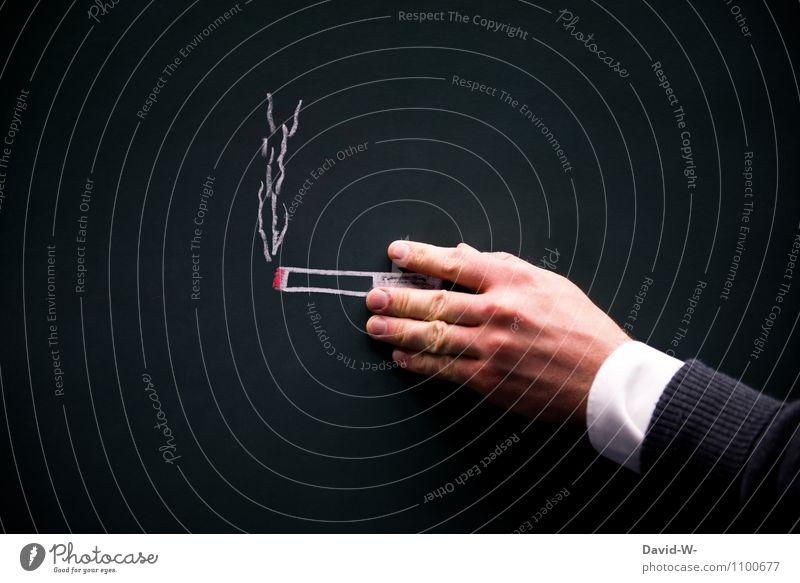 Kippe Mensch Hand Leben Stil Gesundheit maskulin festhalten Rauchen Krankheit Rauch Bar Restaurant Stress Tafel Club Rauschmittel