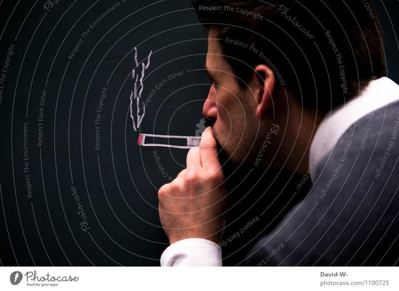 Abhängigkeit Mensch Jugendliche Mann Junger Mann Erwachsene Gesundheit maskulin Kreativität Coolness Rauchen Krankheit Bar Restaurant Stress Tafel Club
