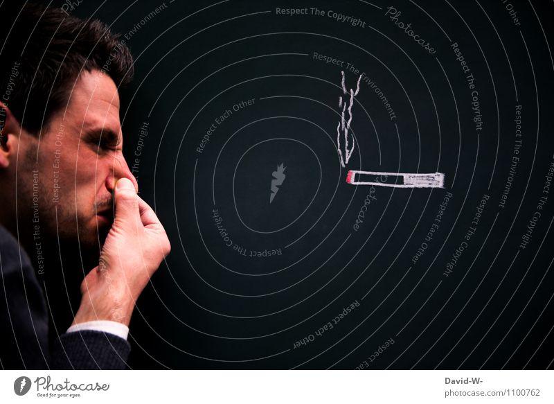 ih bah pfui Mensch maskulin Mann Erwachsene Jugendliche Leben Kopf Nase 1 Ärger Feindseligkeit Ekel Zigarette Rauchen Nichtraucher Wasserdampf glühend