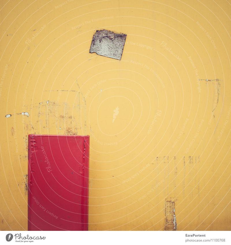   Design Metall Linie alt dreckig trashig gelb rot Farbe Grafik u. Illustration kaputt Kratzer Rest Zeichen Grafische Darstellung graphisch Farbfoto