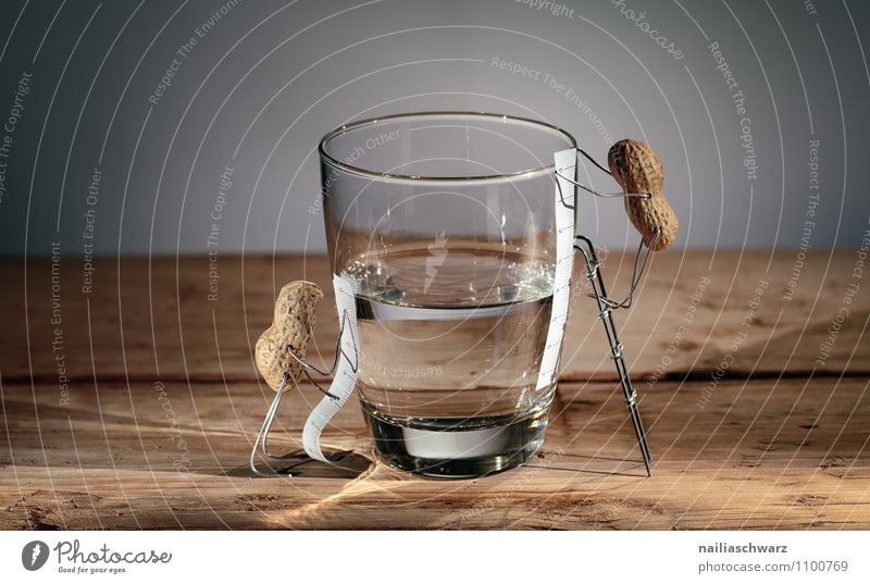 Halb voll - halb leer? Mensch schön Wasser Holz Stimmung Freundschaft Glas stehen Fröhlichkeit beobachten Kommunizieren niedlich einfach Hoffnung Neugier