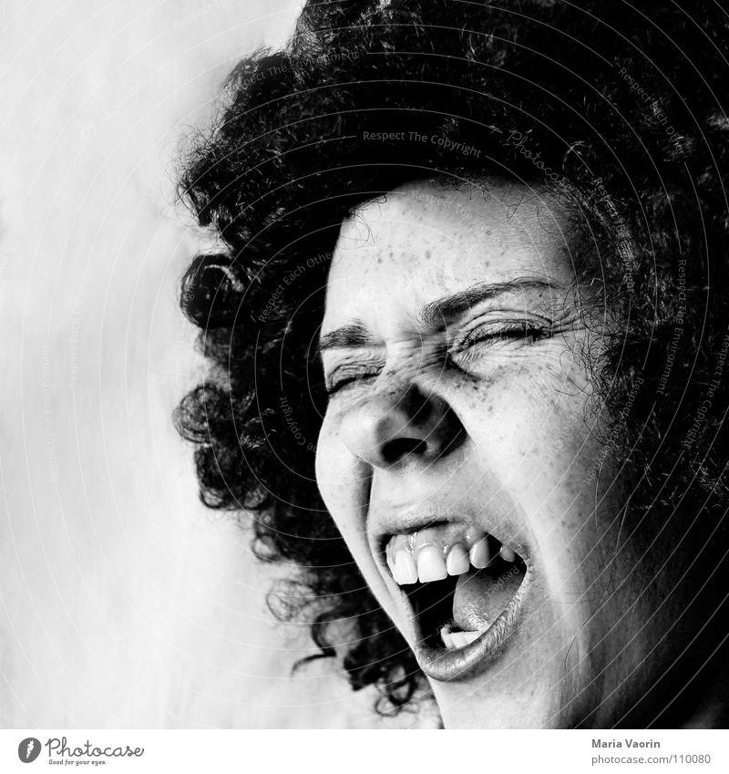 Yeah, baby! schreien rocken Perücke Sommersprossen Freude durchdrehen Gefühle Musik lockig Locken Stil verrückt Schwarzweißfoto Konzert Afroamerikaner grooven
