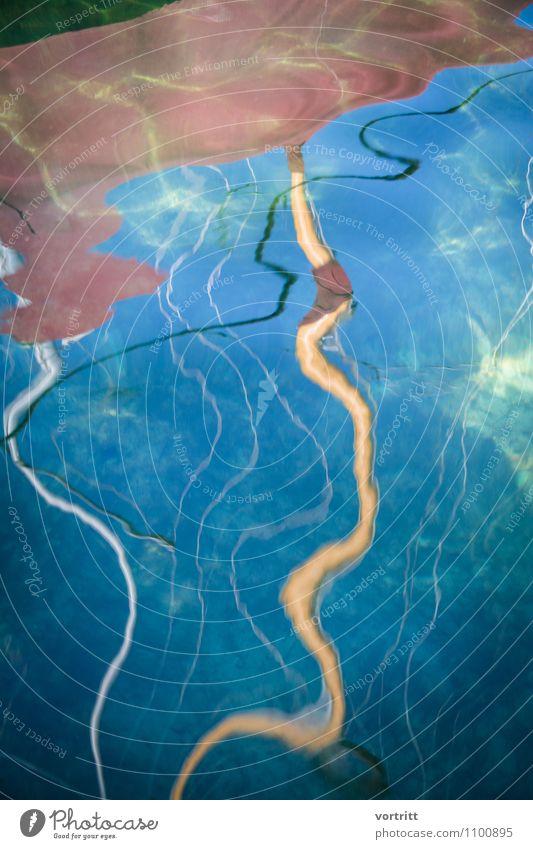Scheinbar Umwelt Natur Wasser Schifffahrt Segelboot blau braun ästhetisch bizarr Mast Seil malerisch Verzerrung Spiegelbild Surrealismus Farbfoto mehrfarbig