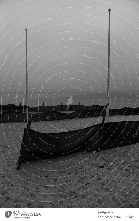 Küste Ferien & Urlaub & Reisen Tourismus Umwelt Natur Landschaft Wasser Winter Klima Strand Fjord Ostsee dunkel kalt Stimmung Fahnenmast Schwarzweißfoto